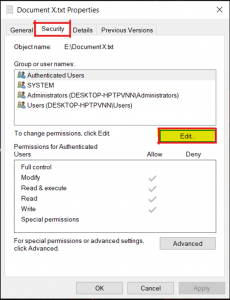 Figure 2: Changing permissions